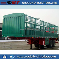Lowest price high quality OBT 2 Axle stake truck semi trailer for sale