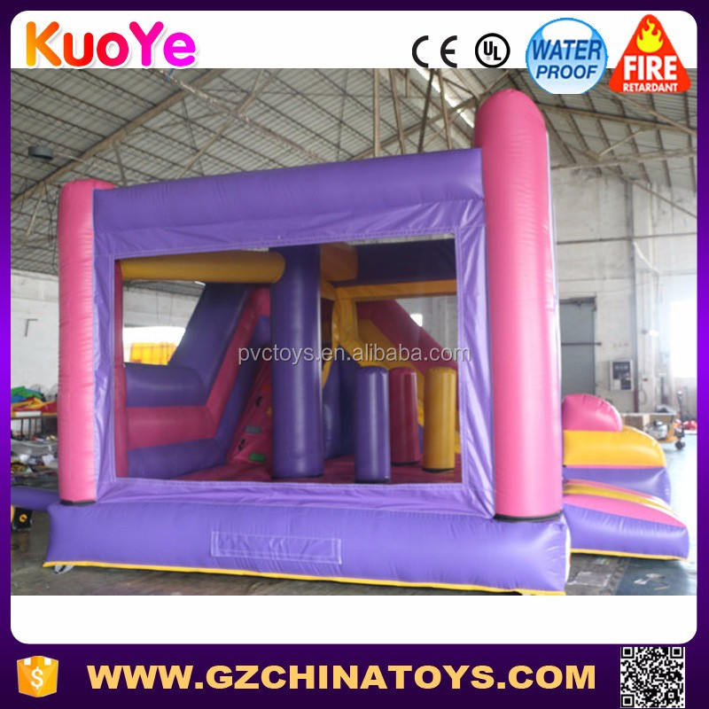 Commercial popular kids inflatable jumping castle with slide and banner for sale