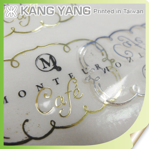 Golden foil Waterproof Clear Adhesive Label Of Transparent Labels Sticker