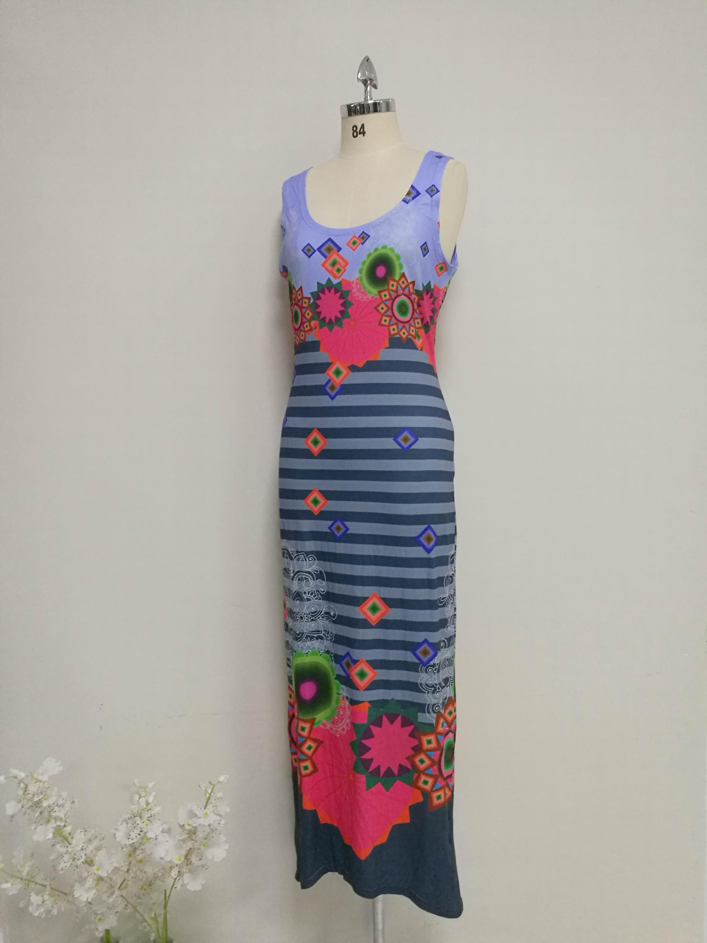 Original Design digital Printted LONG Dress Ladies Clothing Women printing maxi-dress