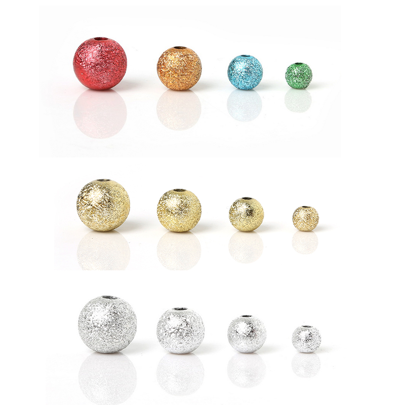 Mixed Silver Gold Rainbow Acrylic Stardust Round Ball Loose Beads