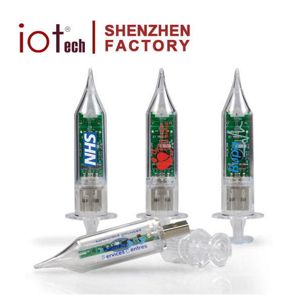 Transparent Cartoon Medical Syringe Shape ABS USB Flash Drive with Logo Printing