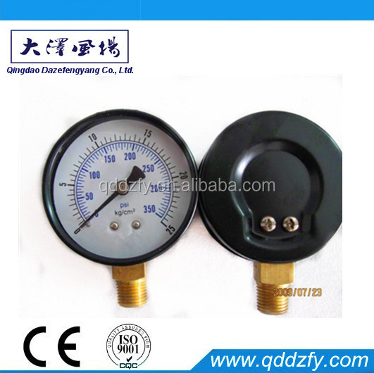 63mm Black steel Lpg gas manometer with brass connector