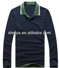 2013 new design 100% combed cotton t shirt,contrast collar and sleeve stand collar long sleeve polo shirts