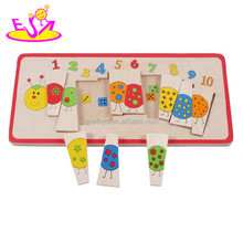 Cartoon design learn wooden puzzle toy,Lovely wooden learn count number toy,Wholesale wooden toy study learn toy W14L019