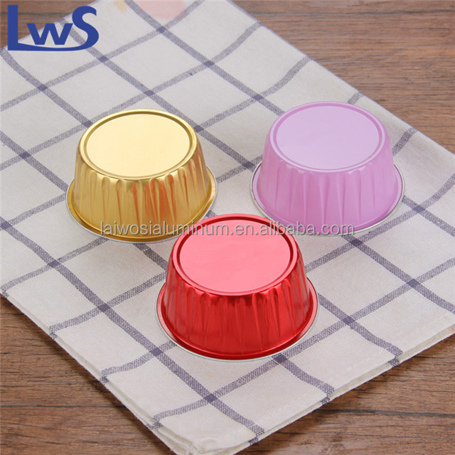 125ml Colorful Disposable Aluminum Baking Cups with Lids for Desserts Pudding Cups Aluminum Foil Mousse Custard