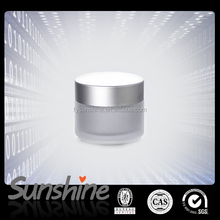 Hot Sale frosted glass jar for cosmetic with aluminum cap