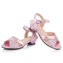 EU28-36 Girls Princess Style Shoes Bling Cute Leather Big Kid Junior heeled Sandals with Low Heel Aqua Pink