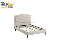 Hot sale products elegant colour fabric button tufted linen upholstered wooden box bed design bed