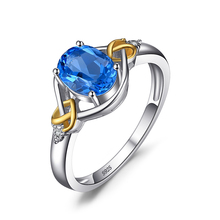 1.5ct Natural Blue Topaz Promise Ring Love Knot Ring Diamond Accented Gemstone 925 Sterling Silver 18K Gold From JewelryPalace