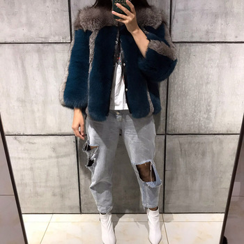 women full pelt three quarter sleeve patchwork natural fox fur coat ladies single breasted real fox for jacket