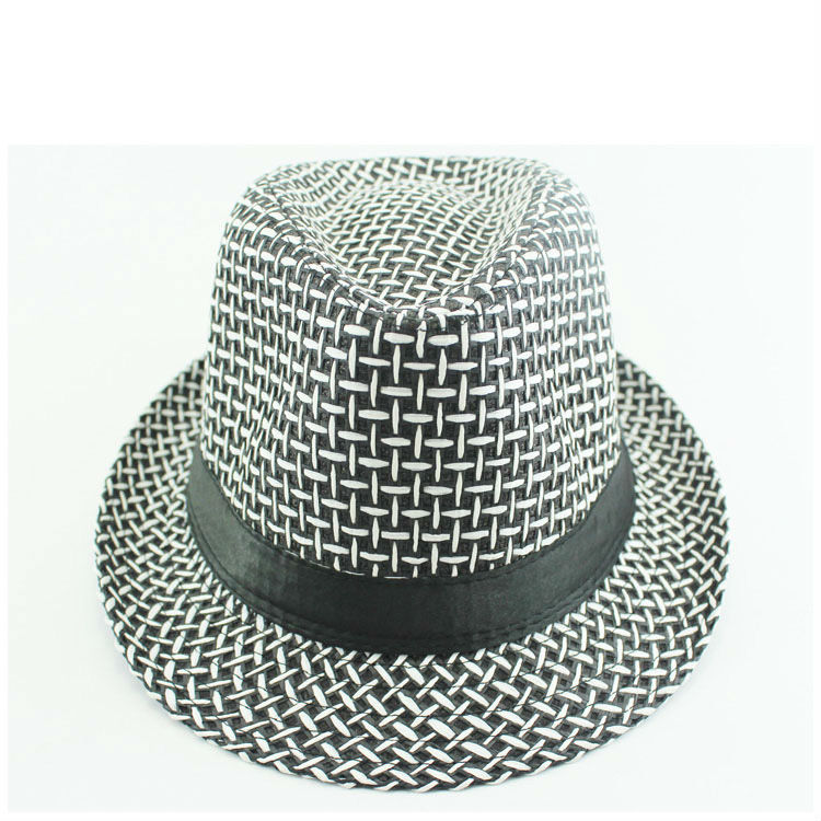 HOT Sale Man checks acrylic or wool ribbon decorated cheap fedora hat
