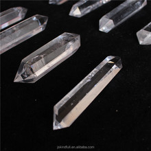 Double Tip natural rock clear quartz crystal points pillar for pendants crystal healing wands