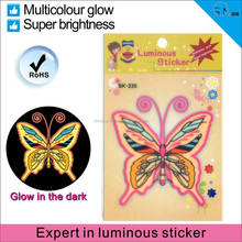colorful light glow in the dark sitcker/butterfly luminous stickers/Home Decoration Use sticker