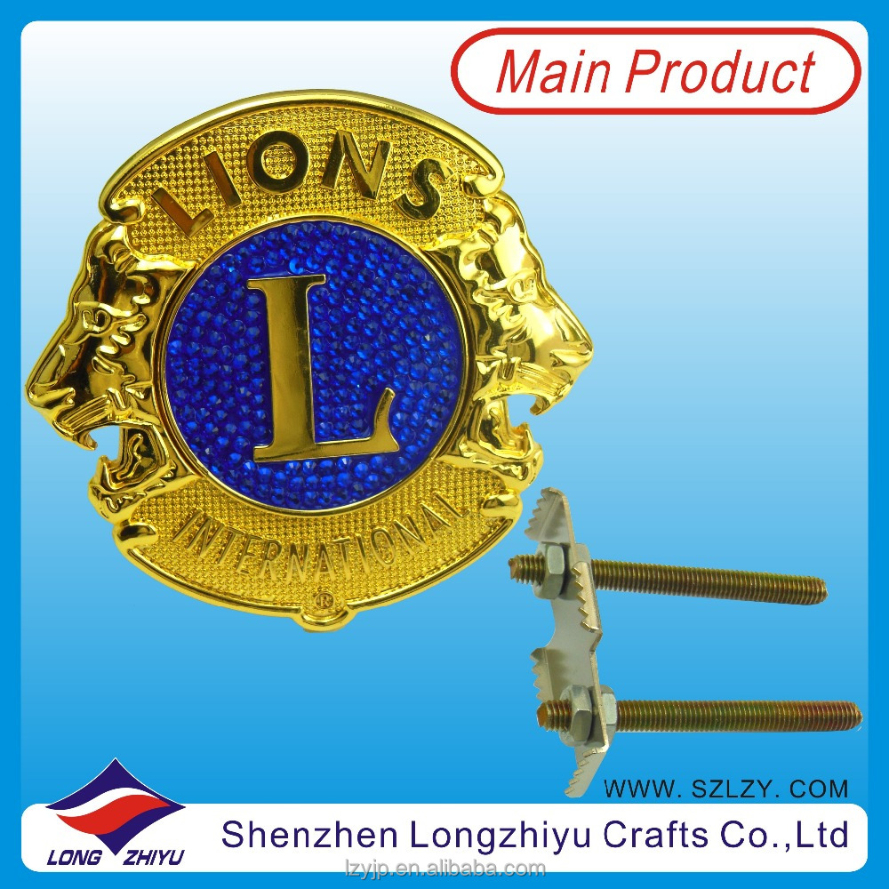 Metal Custom Lions Club Zinc Alloy 3D Gold Car Emblem