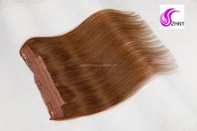 Cheap price brazilian remy hair halo hair extensions 8-30inch straight fish line human flip in halo hair