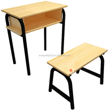 New design wooden study student chair and desk set with metal frame