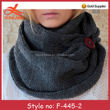 F-445 new winter multicolor trendy lady knit scarfs with button wholesale