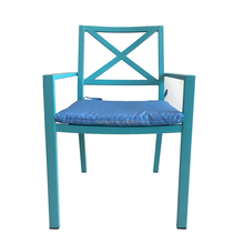 Metal blue portable lounge garden chair