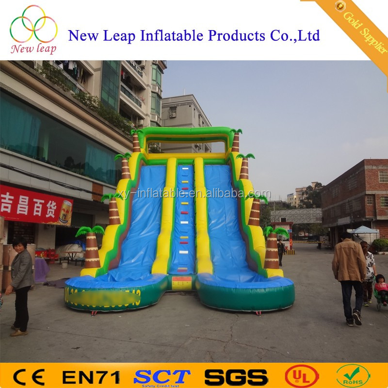 Top sale Double lane blue wave water slide with small pool, giant inflatable water slide for sale