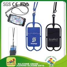 Cheap price Hot-selling Custom silicone lanyard wallet/mobile phone case wallet with pocket