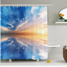 Blue Shower Curtain Sky Reflections Sunset Bathroom Decor