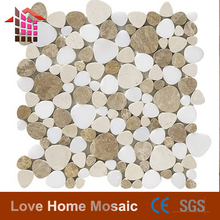 Milky White Marble + Crema Marfil + Light Emperador Marble Mixed Color Heart Shape Marble Mosaic Tiles
