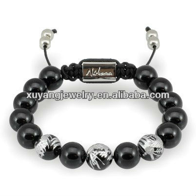 Handmade engraved dragon agate beads bracelet (MA0008)
