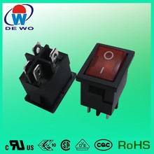 RS rocker switch series, 4 pin on off rocker switch 10a 250v