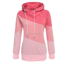 Fashion Apparel Clothing Wholesale Women Blank Long Sleeve Sport Polo Neck Hoody Contrast Solid Color Pullover Hoodies
