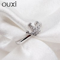OUXI Latest ladies simple silver finger ring designs, new fashion crystal wedding ring Y70050