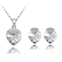 Ocean Star Full heart pendant necklace earring set silver jewelry navy blue Crystal Heart shape jewelries