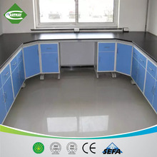 steel and wood chemical lab furniture, steel and wood wall benches for science laboratory