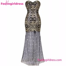 Online Shopping Gold Long Fishtail Skirt Dress Evening 2016