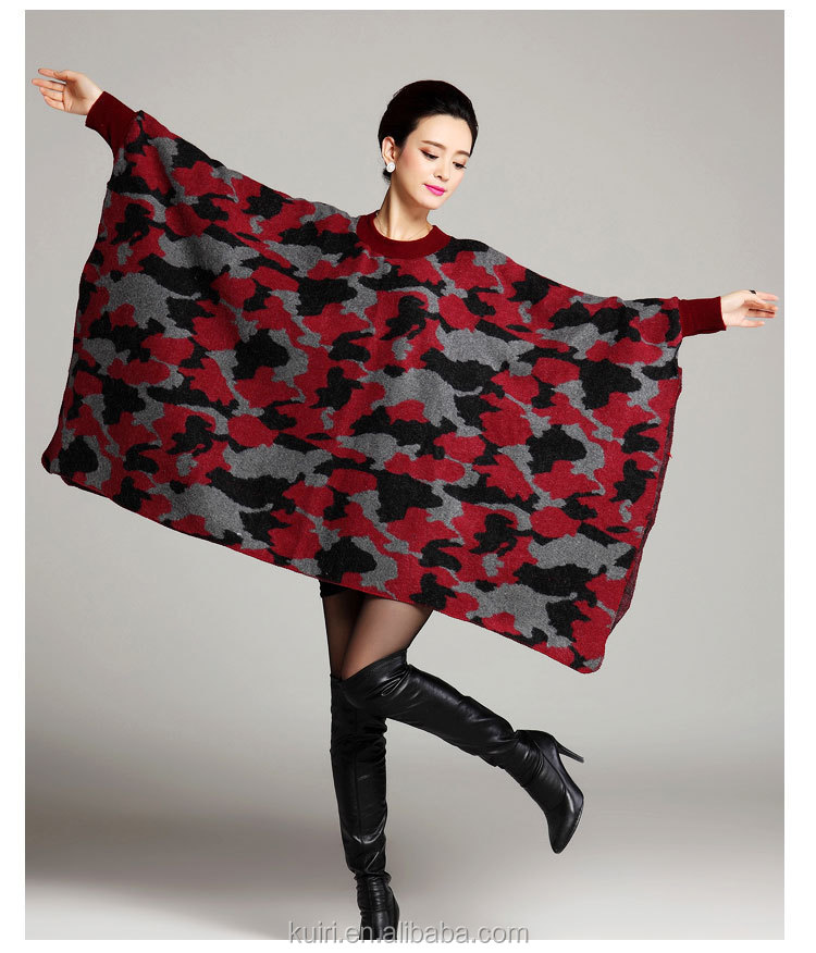 New Brand camouflage color big size pullover Shawl Wrap o collar Fashion Long Womens knitted Capes And Ponchos for Autumn Winter
