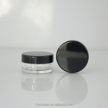Small 3g Plastic 3 ML Sample Empty Round Pot Container Jars with Black Screw Cap Lid