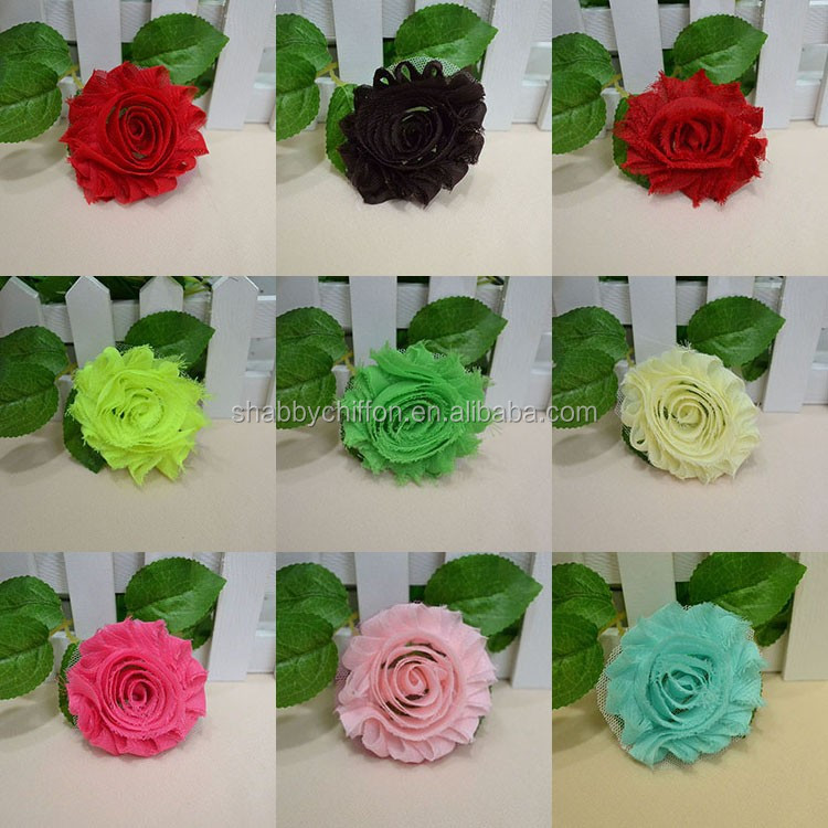 Chiffon Shabby Flowers /fabric flowers for clothing/embellishments for hats