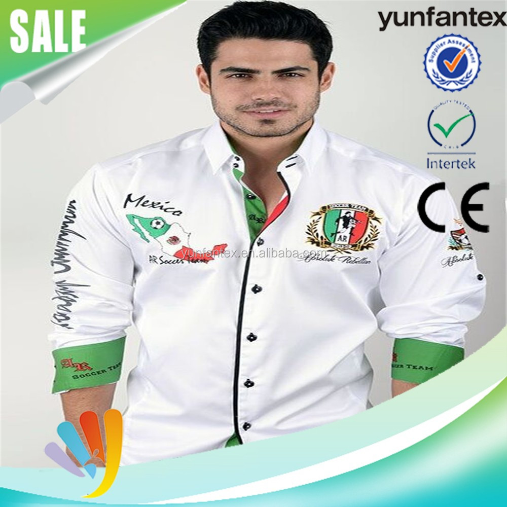 2016 latest cotton EMB white shirts