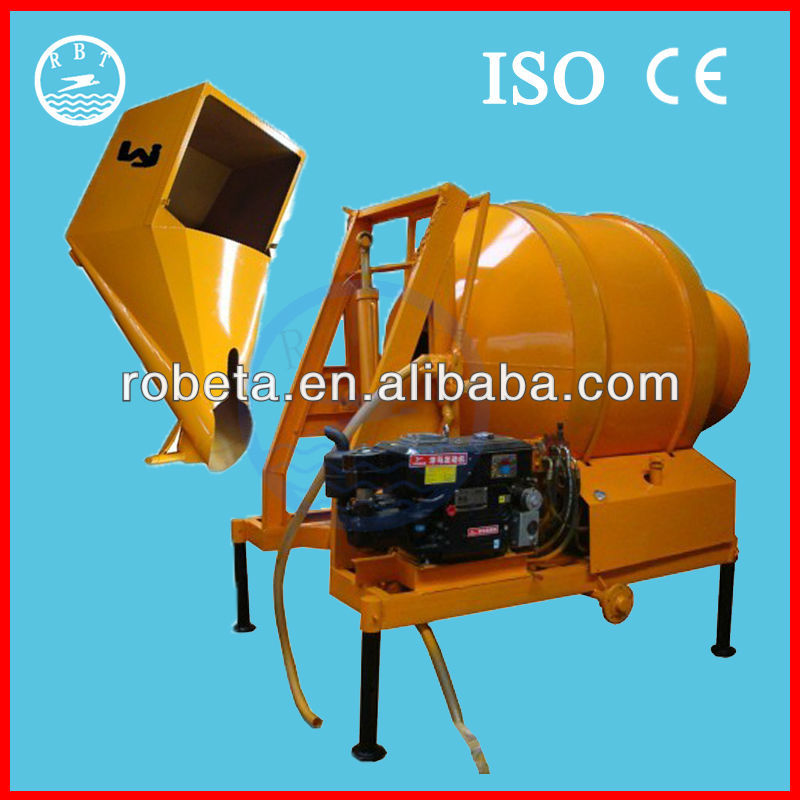 hoisting tipping hopper concrete mixer/ concrete mixer with mechanical hopper