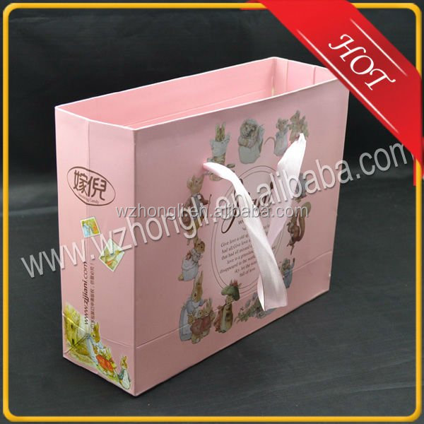 promotion paper gift shopping bag with ribbon