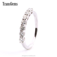 TransGems 0.7CTW lab diamond half eternity band in 14K White Gold moissanite Wedding Ring