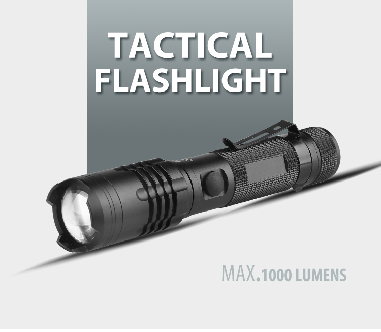 2019 Newest Factory Price Aluminum high power 1000 lumen Cree 10W u3 3.7v  rechargeable tactical led flashlight