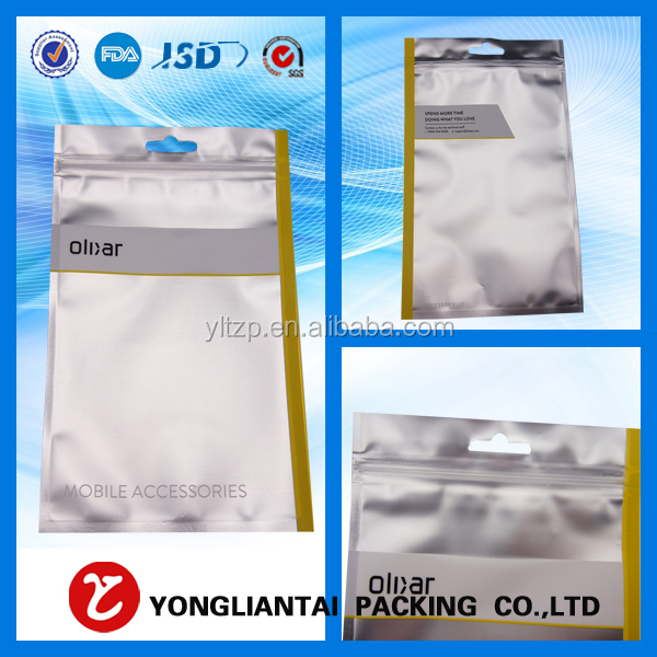 Wholesale plastic new product three-layer laminated aluminum foil bag, zipper pouch for mobile phone