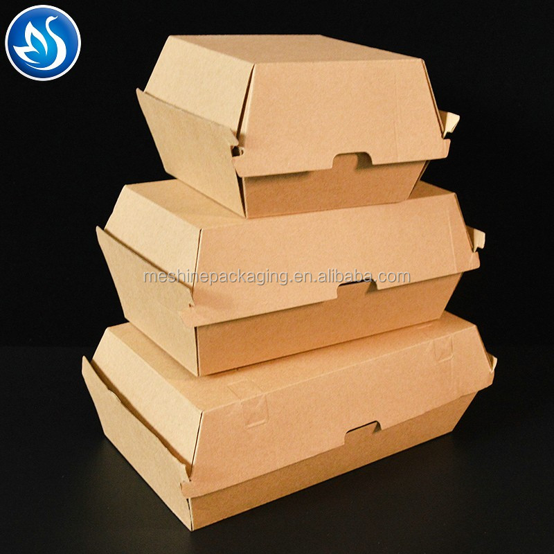 Professional food grade custom corrugated kraft paper burger carton box with logo