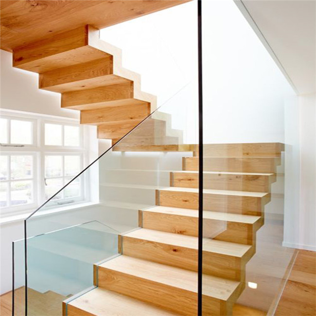 Transparent glass panel design straight staircases used various color tread