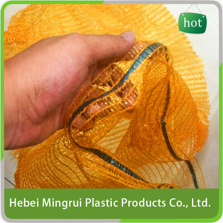 Best sale machine hemming orange raschel mesh bag