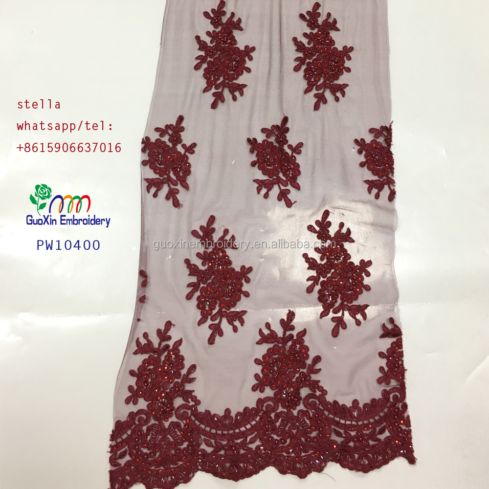 2017 Newest Africa beaded lace fabric for garment