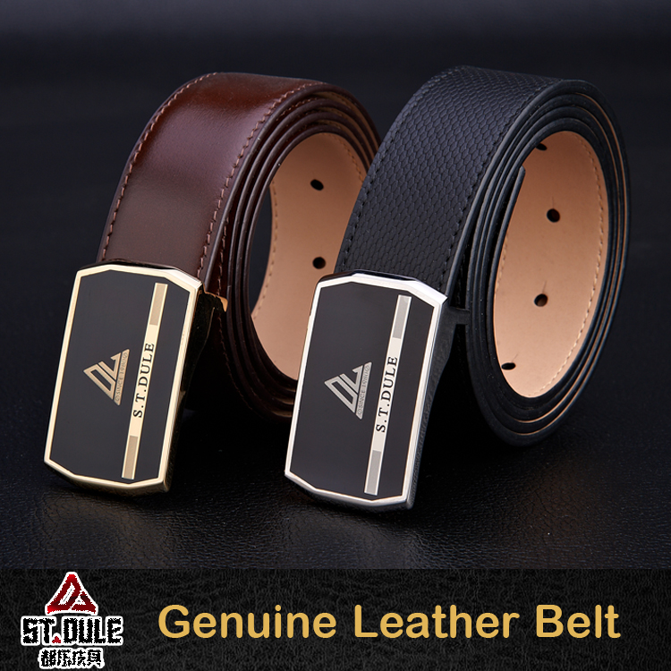 Plate buckle mens genuine spanish leather belt