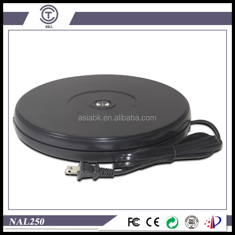 "BKL turntable NAL250 AC110V/220V powered centric LED lighting 10"" plastic revolving exhibition base supplier"