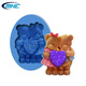 Funny bear craft art silicone molds, chocolate fondant silicon cake decorating